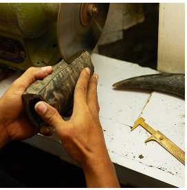 a horn is about to transform into a necklace (c) Nature Bijoux